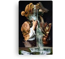 Man Drinking From a Well with Cabinet of Linen. Canvas Print