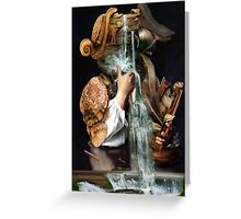 Man Drinking From a Well with Cabinet of Linen. Greeting Card