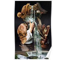 Man Drinking From a Well with Cabinet of Linen. Poster