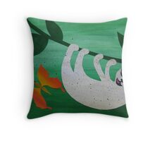 Sloth with a moth- collage with math books- rhymes for kids Throw Pillow