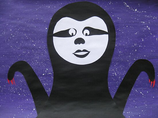 Goth Sloth- - collage with math books- rhymes for kids by cathyjacobs