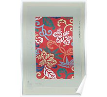 Nishike brocade with paulownia arabesque with red background 001 Poster