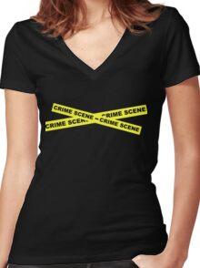 Crime Scene Tape Women's Fitted V-Neck T-Shirt