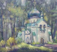 CHURCH OF OUR SAVIOUR. ABRAMTSEVO. SKETCH. 2013 by Ivan KRUTOYAROV