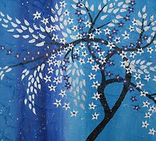 cherry blossom in the snow , blue purple silver white by cathyjacobs