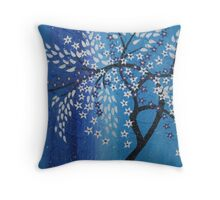 cherry blossom in the snow , blue purple silver white Throw Pillow