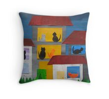 Cats in Flats- from recycled Math Books- Children's rhymes Throw Pillow