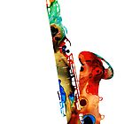 Colorful Saxophone by Sharon Cummings by Sharon Cummings