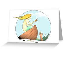 Mermaid Sinks Small Boat Seduced by Tiny Treasure Greeting Card