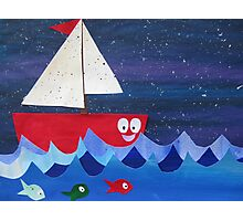 Boat has a float- rhyming collages for kids- made with math book drafts Photographic Print