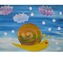 Snail in Hail - Animal Rhymes - created from recycled math books Photographic Print