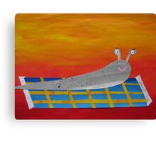 Slug on a Rug- collage with math books- rhymes for kids Canvas Print