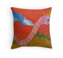 Worm with a Perm - Animal Rhymes - created from recycled math books Throw Pillow