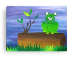 Frog on a Log Canvas Print