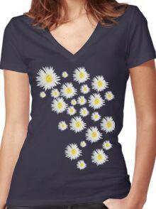 White Flower - daisy like Women's Fitted V-Neck T-Shirt