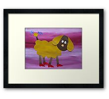Dog in Clogs - Animal Rhymes - created from recycled math books Framed Print
