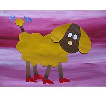 Dog in Clogs - Animal Rhymes - created from recycled math books Photographic Print