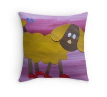 Dog in Clogs - Animal Rhymes - created from recycled math books Throw Pillow