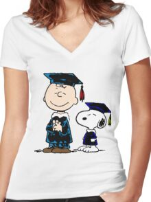 Congrats Snoopy Women's Fitted V-Neck T-Shirt
