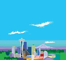 Seattle Pixel Skyline by thedailyrobot