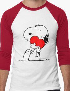 Snoopy Heart Love Men's Baseball ¾ T-Shirt