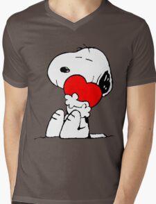 Snoopy Heart Love Mens V-Neck T-Shirt