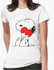Snoopy Heart Love Womens Fitted T-Shirt