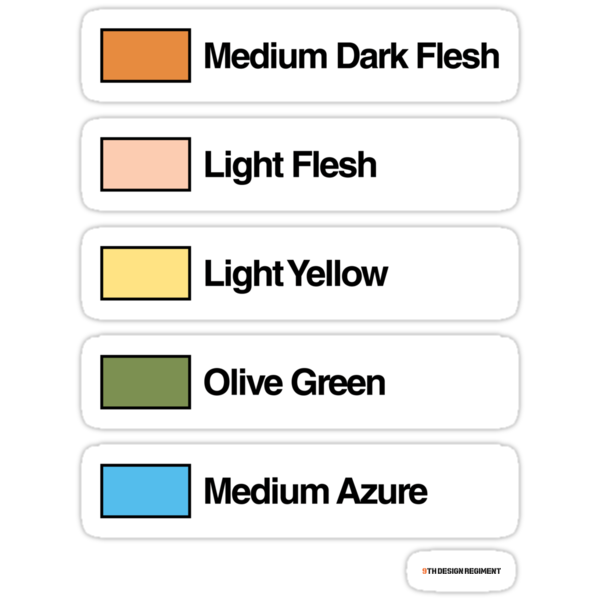 Brick Sorting Labels: Medium Dark Flesh, Light Flesh, Light Yellow, Olive Green, Medium Azure by 9thDesignRgmt