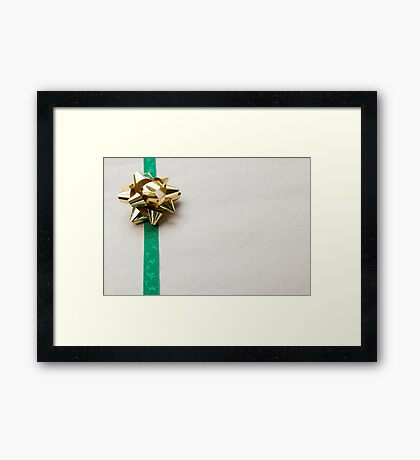 Gift Wrapped Bow and Ribbon on Recycled Paper Framed Print