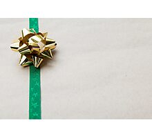 Gift Wrapped Bow and Ribbon on Recycled Paper Photographic Print