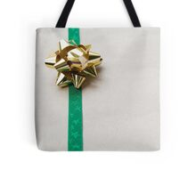Gift Wrapped Bow and Ribbon on Recycled Paper Tote Bag