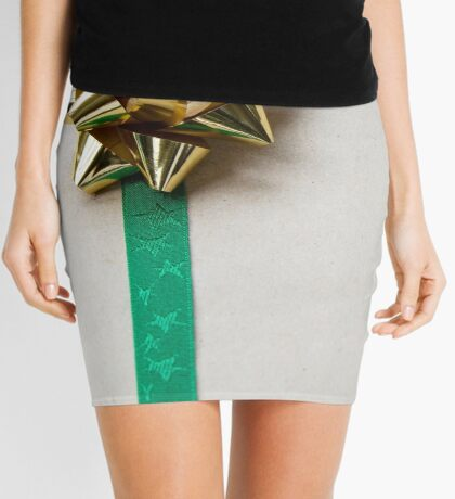 Gift Wrapped Bow and Ribbon on Recycled Paper Mini Skirt