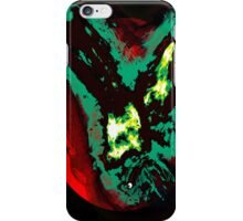 Green Gothic Phoenix flying in the red sun with creature black background iPhone Case/Skin