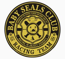 Baby Seals Club Racing Black T-shirt by DickVanDork