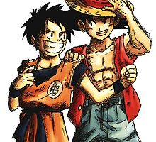 Monkey D. Luffy and Goku by BigDuo Store
