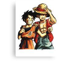 Monkey D. Luffy and Goku Canvas Print