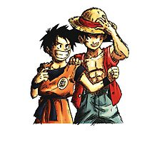 Monkey D. Luffy and Goku Photographic Print