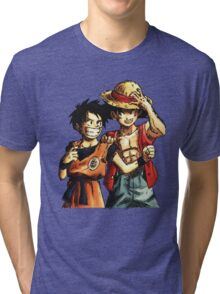 Monkey D. Luffy and Goku Tri-blend T-Shirt