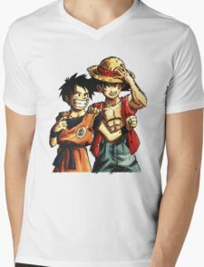 Monkey D. Luffy and Goku Mens V-Neck T-Shirt