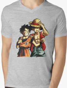 Monkey D. Luffy and Goku Mens V-Neck T-Shirt
