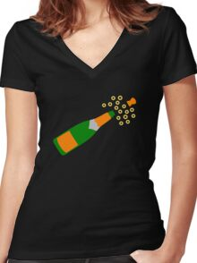 Champagne Bottle and Popping Cork Women's Fitted V-Neck T-Shirt