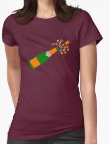 Champagne Bottle and Popping Cork Womens Fitted T-Shirt