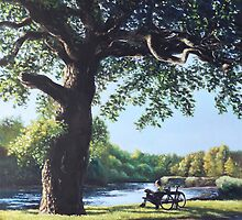 Southampton Riverside park oak tree with cyclist by martyee