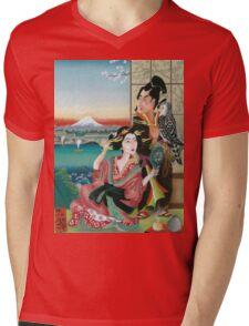 Japan print, pastel tribute to ukiyo-e Mens V-Neck T-Shirt