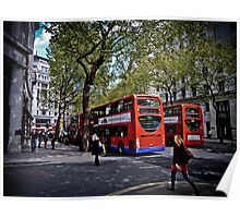Double-decker buses in London Poster