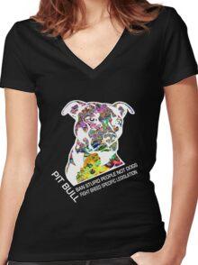 Pitbull BSL White Women's Fitted V-Neck T-Shirt