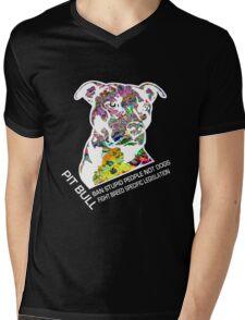 Pitbull BSL White Mens V-Neck T-Shirt