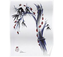The Journey - Ladybug Bamboo mixed media painting Poster