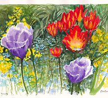 Giverny Tulips in Claude Monet's Garden at Giverny by Dai Wynn