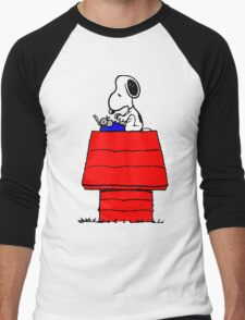 Typewriter Snoopy Men's Baseball ¾ T-Shirt